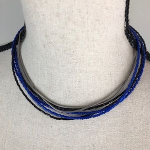 Chico's Beaded & chain 6 Strand Choker Necklace